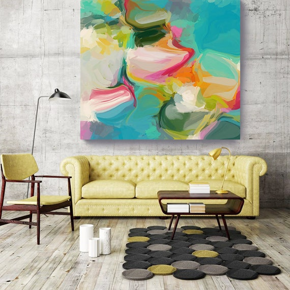 """Sensual 1. Aqua, Pink Abstract Art, Wall Decor, Large Abstract Colorful Contemporary Canvas Art Print up to 48"""" by Irena Orlov"""