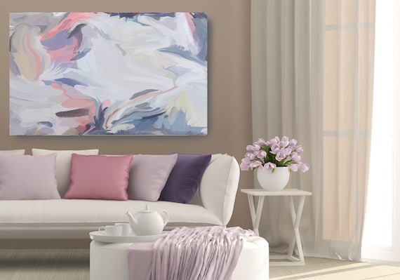 Invisible spirits, Abstract Painting Extra Large Abstract Hand Painted Acrylic Painting On Canvas Blue White Contemporary Modern Print