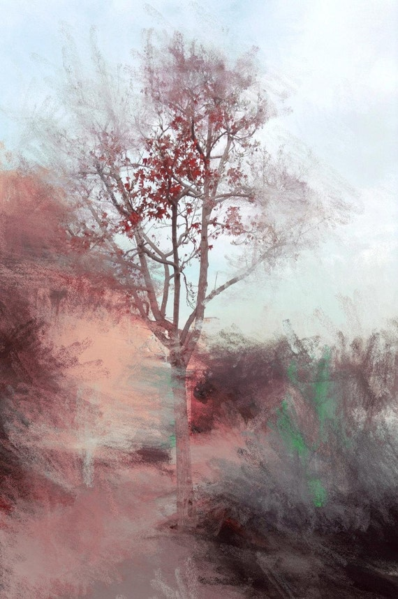 """Decorated with leaves. Huge Rustic Landscape Painting Canvas Art Print, Extra Large Red Blue Brown Canvas Art Print up to 80"""" by Irena Orlov"""