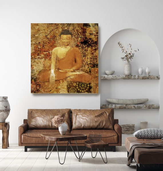 Gold Buddha Painting Canvas Print, Buddha Wall Art, Spiritual Buddha Wall Art, Buddhist art, Zen wall painting, Canvas Wall Art Print
