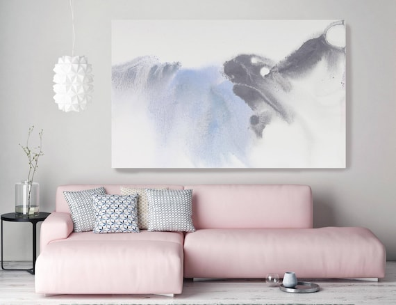 "Bleached Out 2. Contemporary Abstract Blue Gray Watercolor Canvas Art Print up to 72"", Extra Large Abstract Canvas Art Print by Irena Orlov"