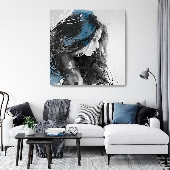 Woman Floral Portrait, Flower head woman Canvas Print, Blue Black wall art, Young Pretty women, Floral Head Woman Print, Woman Fashion Art