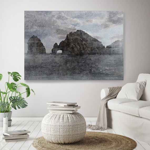 "Cabo. Huge Rustic Seascape Painting Canvas Art Print, Large Brown Blue Canvas Art Print up to 80"" by Irena Orlov"
