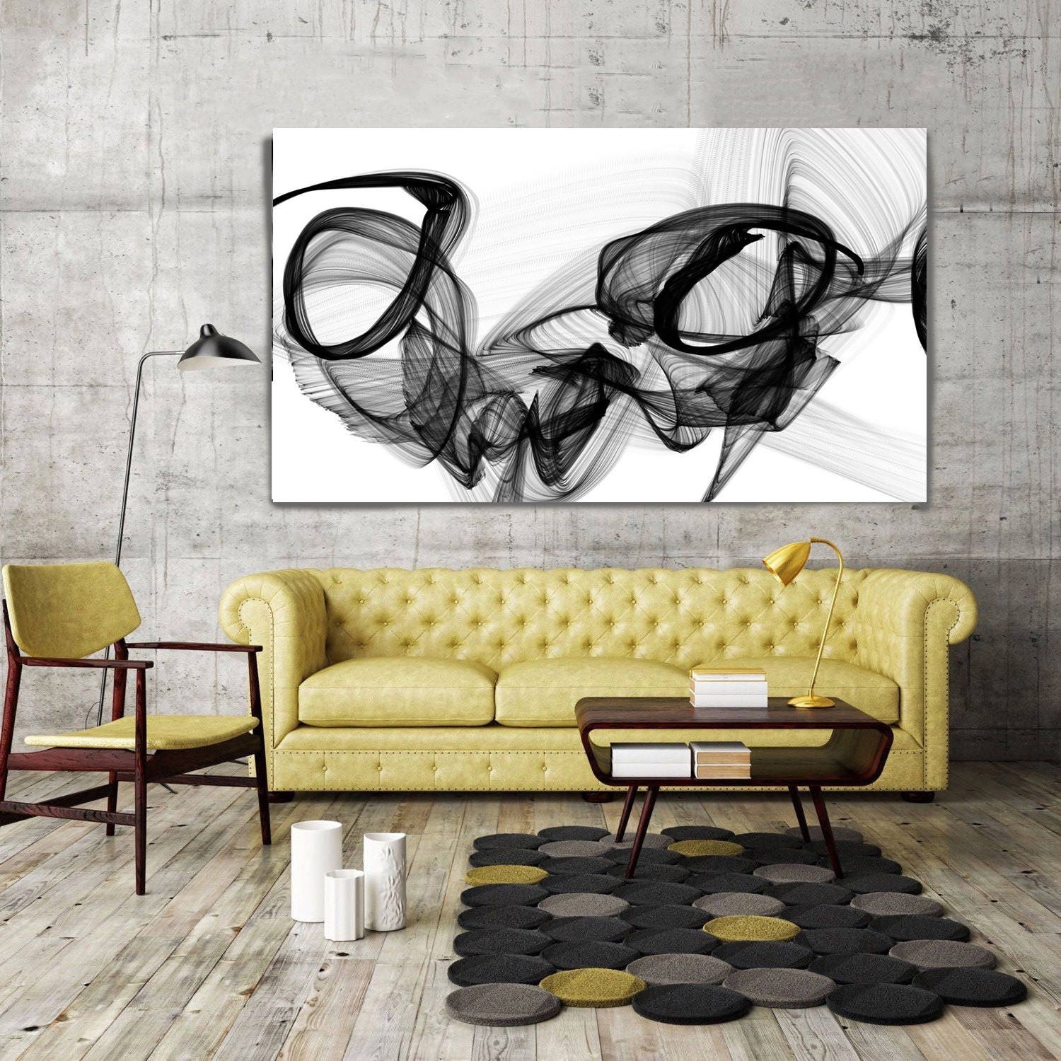 The Marriage, Black and White Contemporary Abstract Canvas Art Print ...
