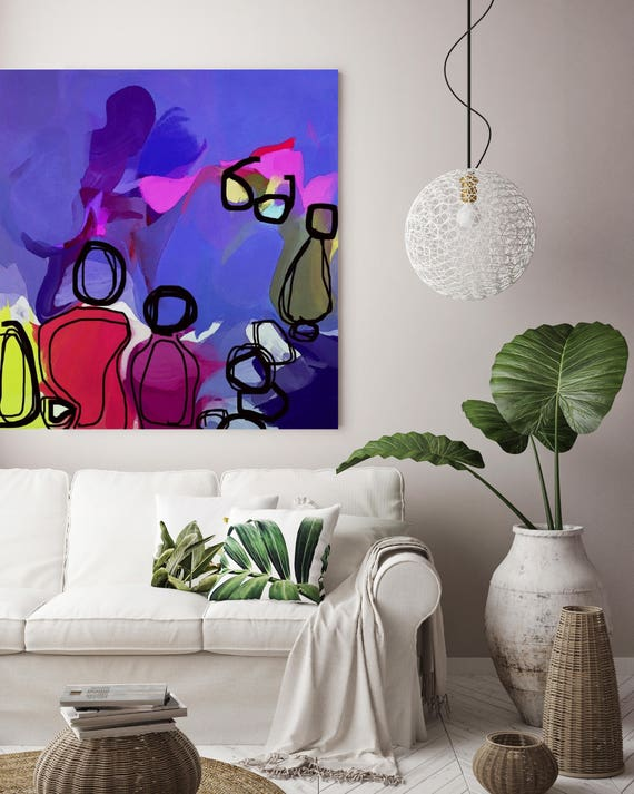 "Into the Magic Night. Purple Pink Abstract Art, Wall Decor, Large Abstract Colorful Contemporary Canvas Art Print up to 48"" by Irena Orlov"
