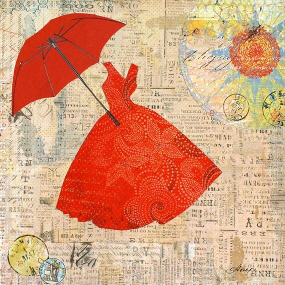 "Lady in red by Irena Orlov. Giclee print 20 x 20"", large canvas art print, wall art print, wall decor, fine art print"