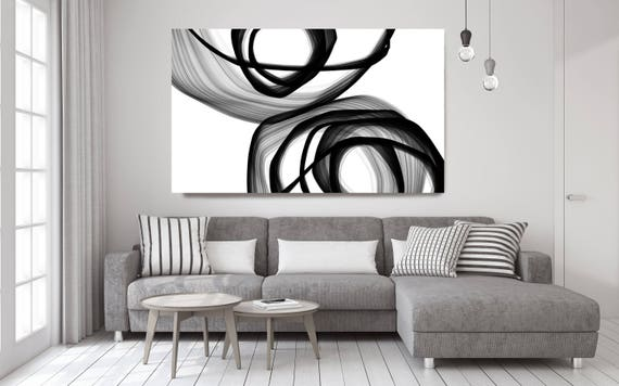 "Minimalist Black and White,Abstract Expressionism in Black And White 32. Black and White Abstract Canvas Art Print up to 72"" by Irena Orlov"