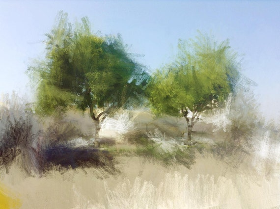 """Park Trees. Huge Rustic Landscape Painting Canvas Art Print, Extra Large Blue Green Gray Canvas Art Print up to 80"""" by Irena Orlov"""