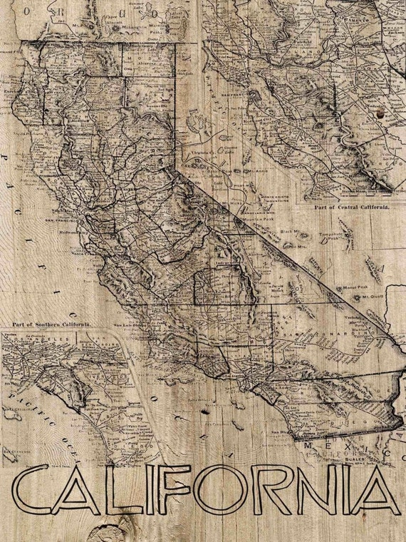 California Vintage Map. Large Canvas Art Print. Vintage Map. Wall Decor for Home Office. California Map on Canvas Wood.By Irena Orlov.