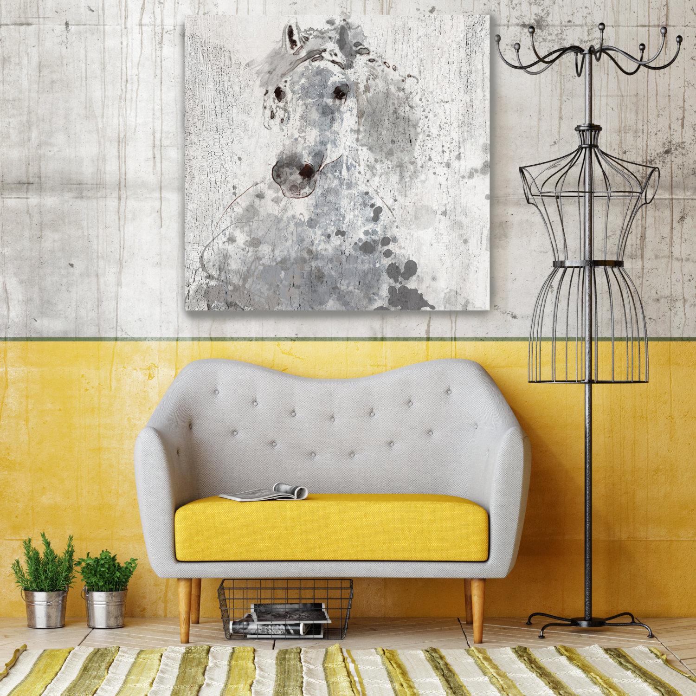 Silver Sunshine. Large Horse, Unique Horse Wall Decor, Gray Rustic ...