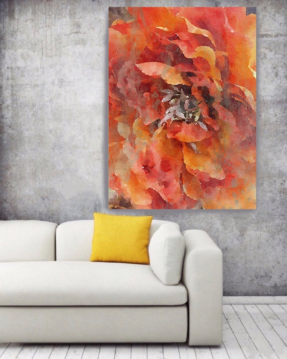 """ORL-8062 Lovely Red 2. Floral Painting, Red Orange Abstract Art, Abstract Colorful Contemporary Canvas Art Print up to 72"""" by Irena Orlov"""