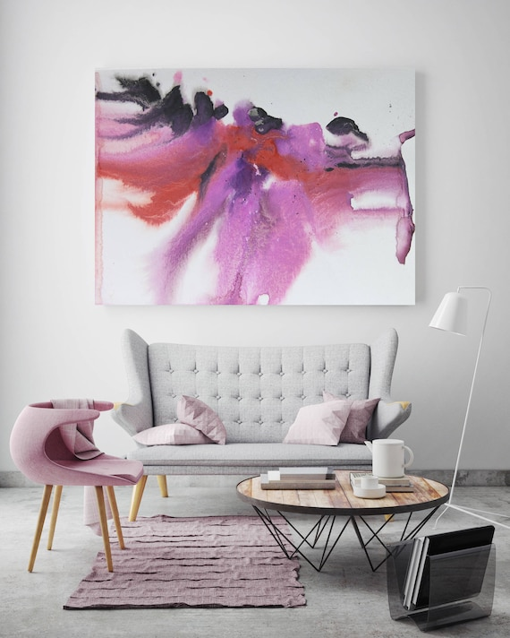 "Pink Blue Dream. Watercolor Abstract Red Pink Black, Watercolor Painting Print Canvas Art Print up to 72"" by Irena Orlov"