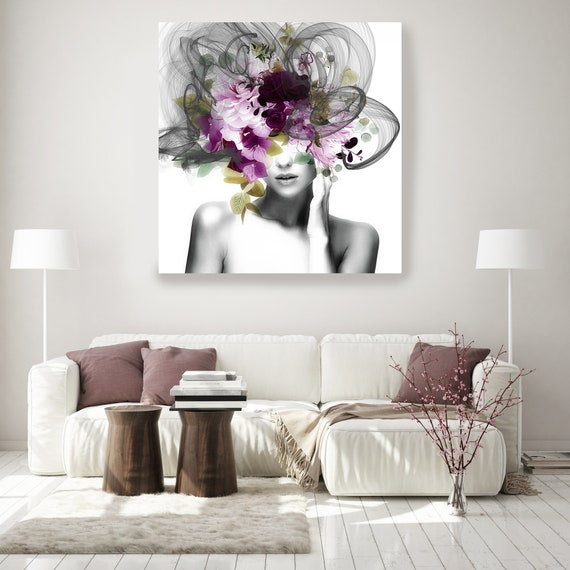 Woman Floral Portrait, Flower head woman Canvas Print, Sexy wall art, linked in time 1, Floral Head Woman Print, Woman Fashion Art