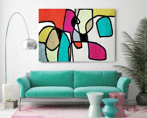 "Vibrant Colorful Abstract-0-16. Mid-Century Modern Green Red Canvas Art Print, Mid Century Modern Canvas Art Print up to 72"" by Irena Orlov"
