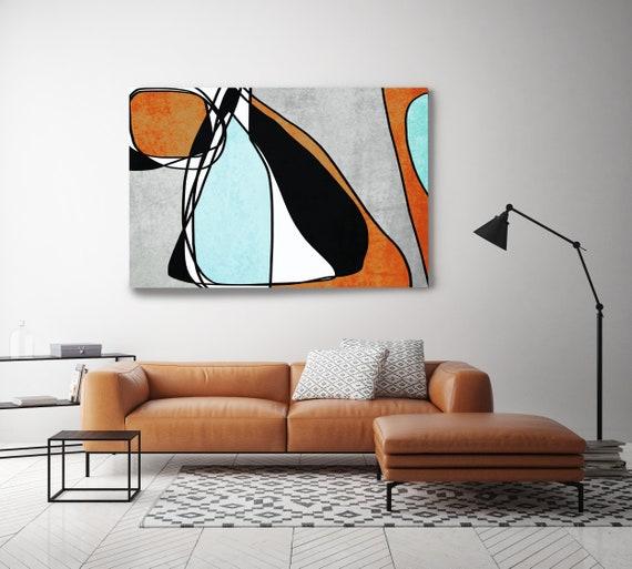 Line Art Modern Coper Aqua Teal Canvas Art Print Scandinavian print Minimalist abstract Wall decor Abstract Line Art 17 -45-18 Blue