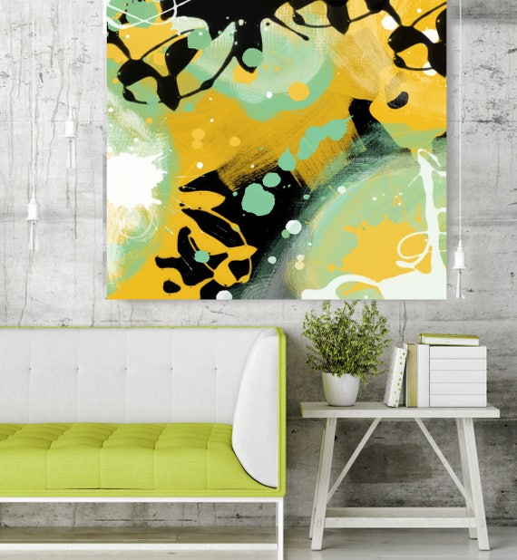 """Forest. Green Yellow Abstract Art, Wall Decor, Extra Large Abstract Colorful Contemporary Canvas Art Print up to 48"""" by Irena Orlov"""