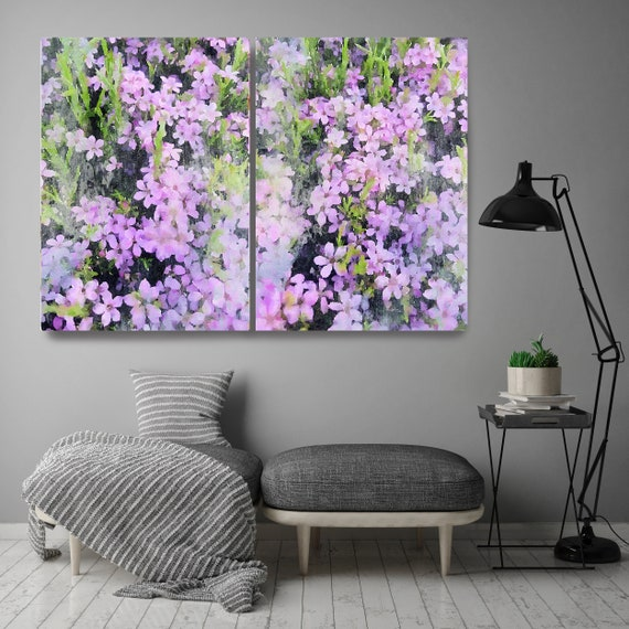 A garden in Purple bloom Diptych-2 piece-Floral Painting Farmhouse Decor Hot Pink Watercolor Painting Print Floral canvas print