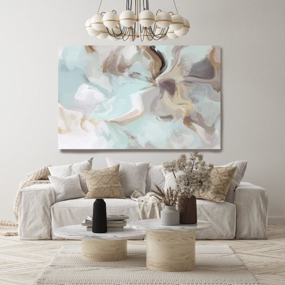 Teal Brown Abstract Flow Wall Art Decor Teal Abstract Art, Large Wall Art Teal Abstract Canvas Print, The Unfailing Grace Wall Art for Home