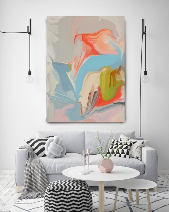 I'm inspired, Original Art, Abstract, Trending Now, Modern, Contemporary, Irena Orlov, Flow Painting, Large Canvas Print, Coral Abstract