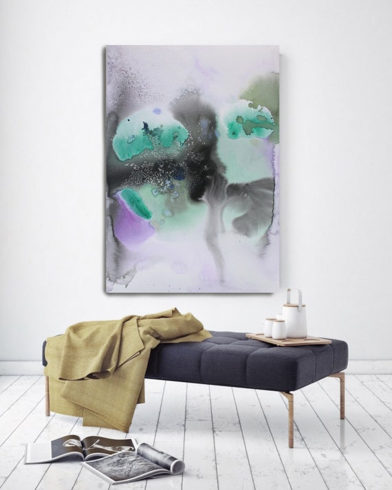 "Watercolor Symphony 3. Green Black Purple Watercolor Abstract, Extra Large Abstract Colorful Canvas Art Print up to 72"" by Irena Orlov"