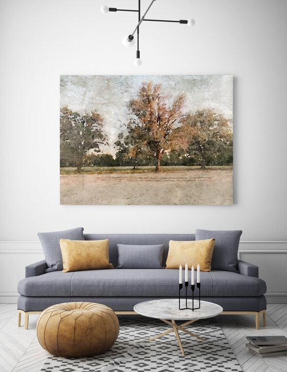 rustic landscape painting, landscape watercolor, landscape art print, rustic landscape Canvas Print, Rural Landscape, November morning 4