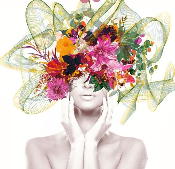 Vibrant Floral Portrait, Flower head woman Canvas Print, Floral Wall Art, Equivalent Exchange, Floral Head Woman Print, Woman Fashion Art