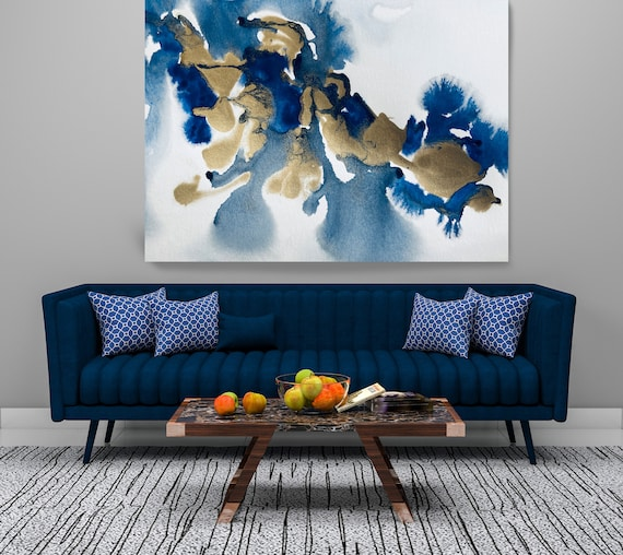Gold in Blue Painting Watercolor Abstract 9, Contemporary Gold Painting Large Wall Art Abstract Canvas Print Gold Teal Artwork for Home