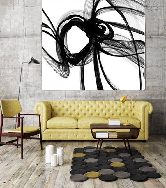 "Contemplation. New Media Abstract Black and White Canvas Art Print, Canvas Art Print up to 50"" by Irena Orlov"
