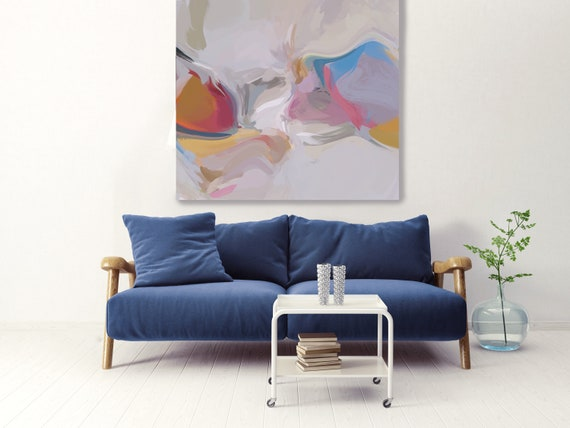 Earthy and natural Wall Art | Original Painting| Abstract Gray Blue Wall Art |Blue Art | Blue Gray Wall Decor | Ready to Hang Canvas Print