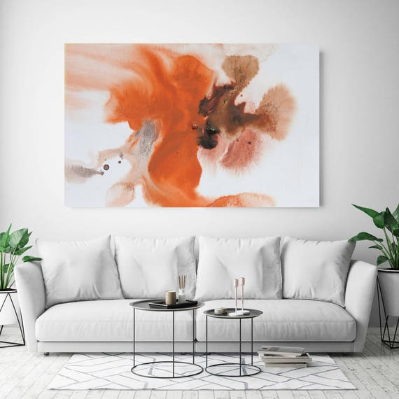"""Coastal Watercolor Abstract 60. Watercolor Abstract Orange Brown Canvas Art Print, Watercolor Painting Print up to 72"""" by Irena Orlov"""