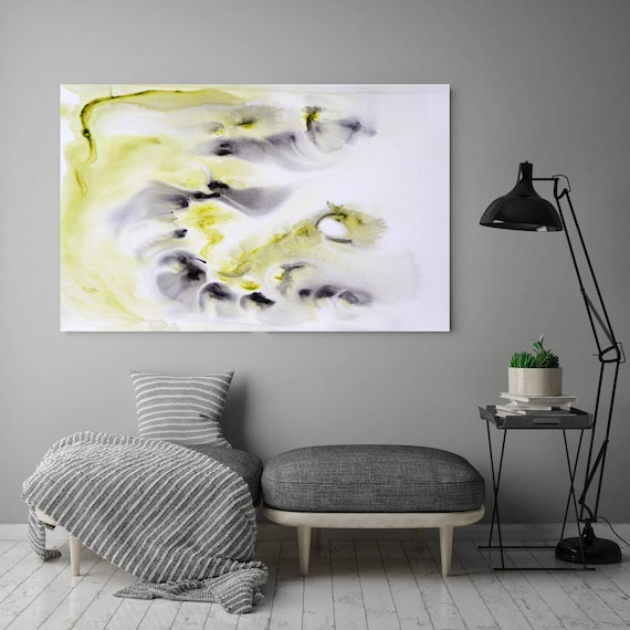 "Watercolor Coastal Abstract 41. Watercolor Abstract White Yellow Canvas Art Print, Watercolor Painting Print up to 72"" by Irena Orlov"