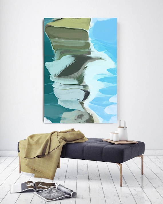 """Deep in the Canyon. Abstract Paintings Art, Wall Decor, Extra Large Abstract Blue Contemporary Canvas Art Print up to 72"""" by Irena Orlov"""