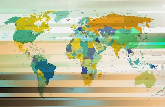 Modern World Map. Canvas Print by Irena Orlov