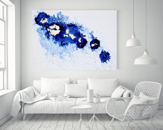 "Blue Gold and White Watercolor abstract splash 2. Watercolor Abstract, Extra Large Abstract Canvas Art Print up to 72"" by Irena Orlov"