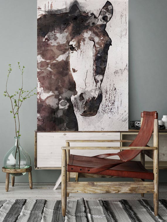 """Gorgeous Horse. Extra Large Horse, Unique Horse Wall Decor, Brown Rustic Horse, Large Contemporary Canvas Art Print up to 72"""" by Irena Orlov"""