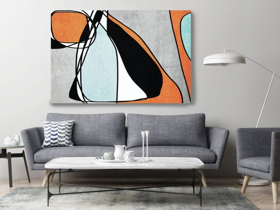 Coper Aqua Teal Canvas Art Print Scandinavian print Minimalist abstract Wall decor Minimalist Abstract Line Art 17 -45-1 Line Art Modern