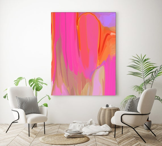 Factor Turbo Pink Orange Neon abstract painting Original abstract painting Canvas painting Large Canvas Print Painting Large Wall Art