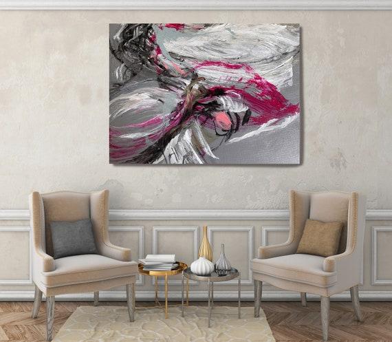 Abstract Mess Gray Magenta  Modern Abstract Wall Art Decor, Abstract Vivid Painting Canvas Print, Abstract Painting Art, Wall Art for Home