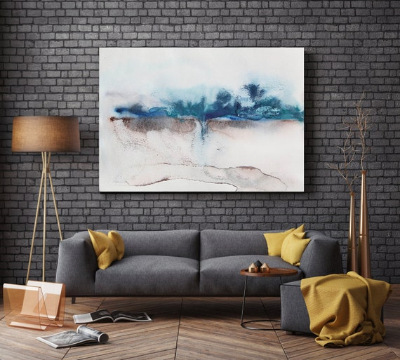 """ORL-7955 Night Scenes. Watercolor Abstract, Wall Decor, Extra Large Abstract Colorful Contemporary Canvas Art Print up to 72"""" by Irena Orlov"""
