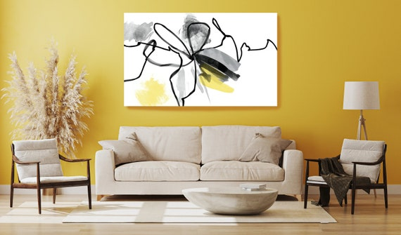 Yellow Black Line Watercolor Minimalist Abstract. Modern Yellow Canvas Art Print, Contemporary Canvas Art Yellow Abstract, Minimalist