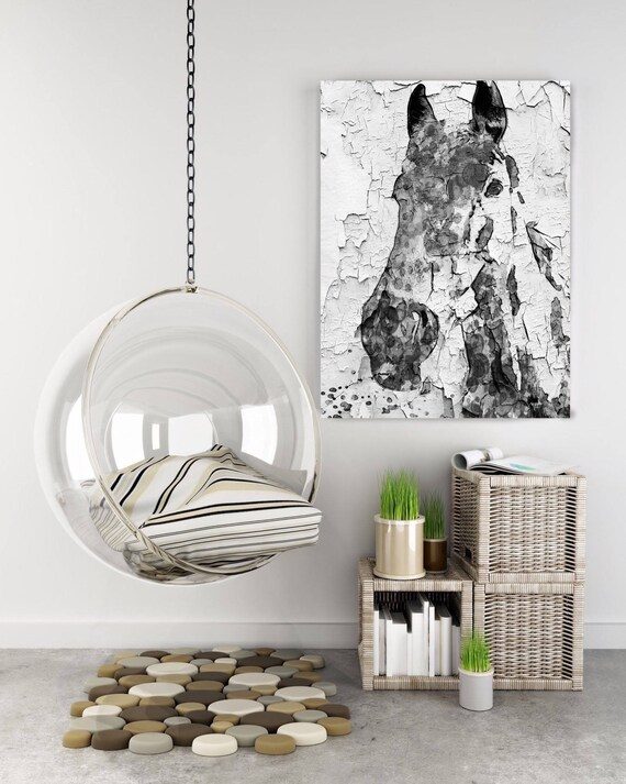 "Night Song Horse. Extra Large Horse, Unique Horse Wall Decor, Black White Rustic Horse, Large Canvas Art Print up to 72"" by Irena Orlov"
