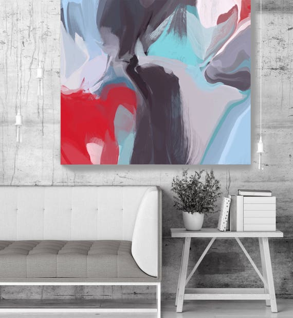 """Deep Inside. Original Oil Painting on Canvas, Contemporary Abstract Blue, Red, Gray Trend Color Oil Painting up to 50"""" by Irena Orlov"""