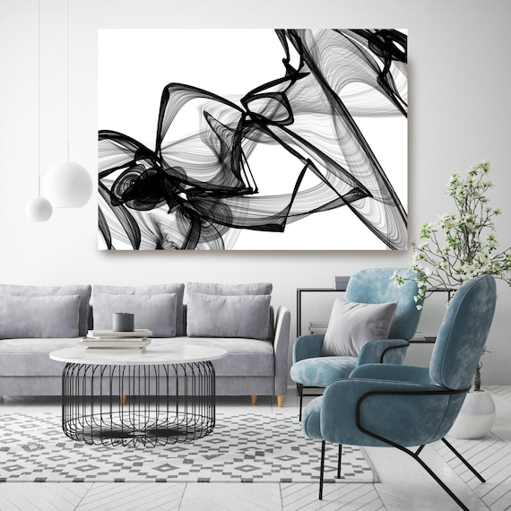 "Abstract Black White New Media Painting on Canvas, It Was Me, Minimalist 72 x 44"", Minimalist Large Abstract Painting, INVEST IN ART"