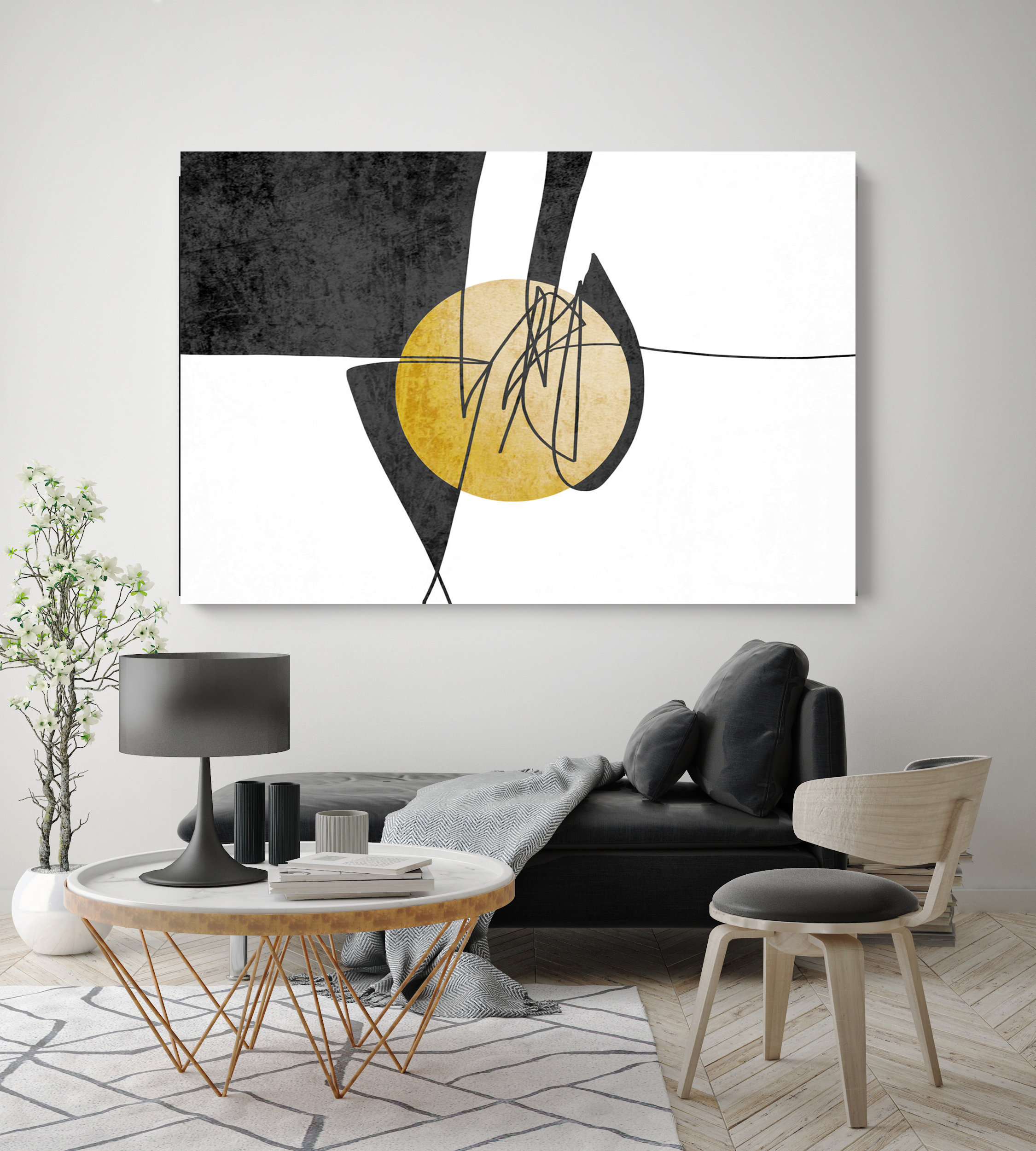 Abstract Line Art 24 Line Art Modern Yellow Canvas Art Print Scandinavian print Minimalist abstract Wall decor Black Yellow Minimalist Art