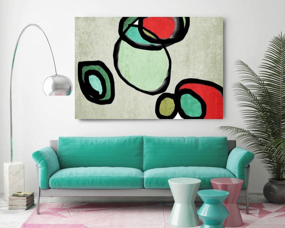 "Vibrant Colorful Abstract-0-67. Mid-Century Modern Green Red Canvas Art Print, Mid Century Modern Canvas Art Print up to 72"" by Irena Orlov"