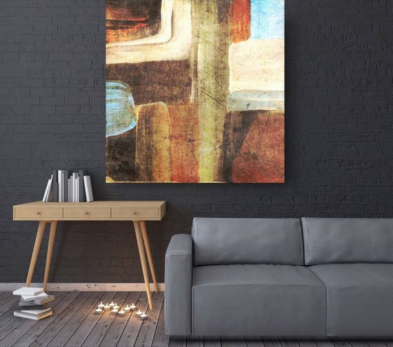 "Nature Abstract. Brown Blue Abstract Canvas Art Print, Extra Large Abstract Colorful Contemporary Canvas Art Print up to 48"" by Irena Orlov"