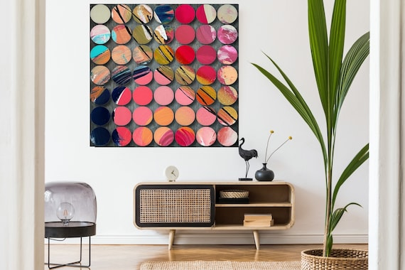 Geometric Abstract Painting, Circles Abstract Art, Pink Circles, Large Canvas Art Print, Visual Experience 2, Abstract Canvas Print