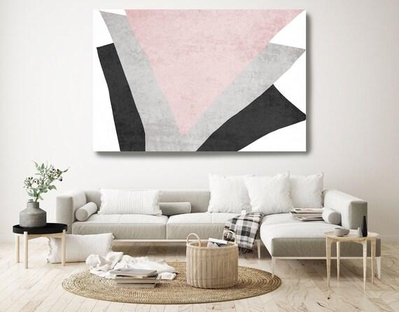 Modern Scandinavian. Modern Gray Pink Canvas Art Print Scandinavian print Minimalist abstract Wall decor Pink Gray Minimalist Art