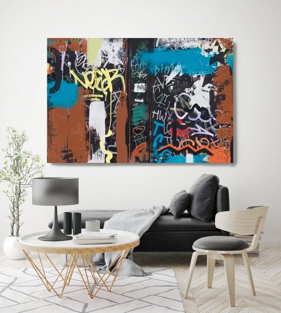 Graffiti Street Art, Colorful Street Art Painting Print on Canvas, Large Canvas Print, Urban Canvas Print, The Word On The Street 1.