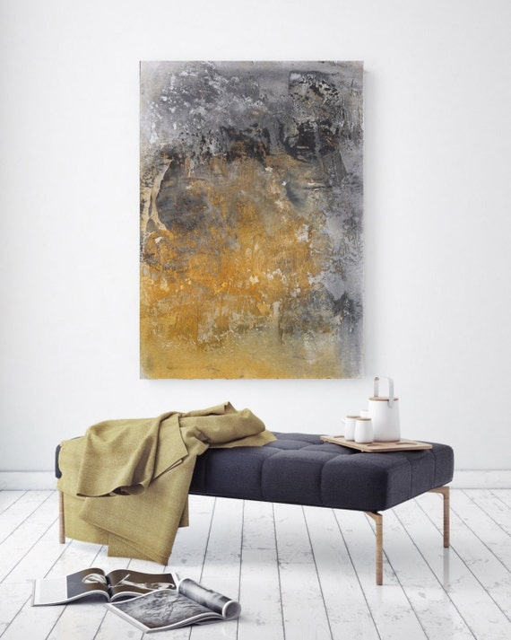 Vibrant hues 7. Extra Large Abstract Original Oil on Canvas Rustic Yellow Painting, Yellow Grey Abstract Rustic Original Art by Irena Orlov